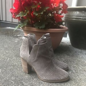 Vince Camuto Grey Ferrier Cutout Heeled Bootie